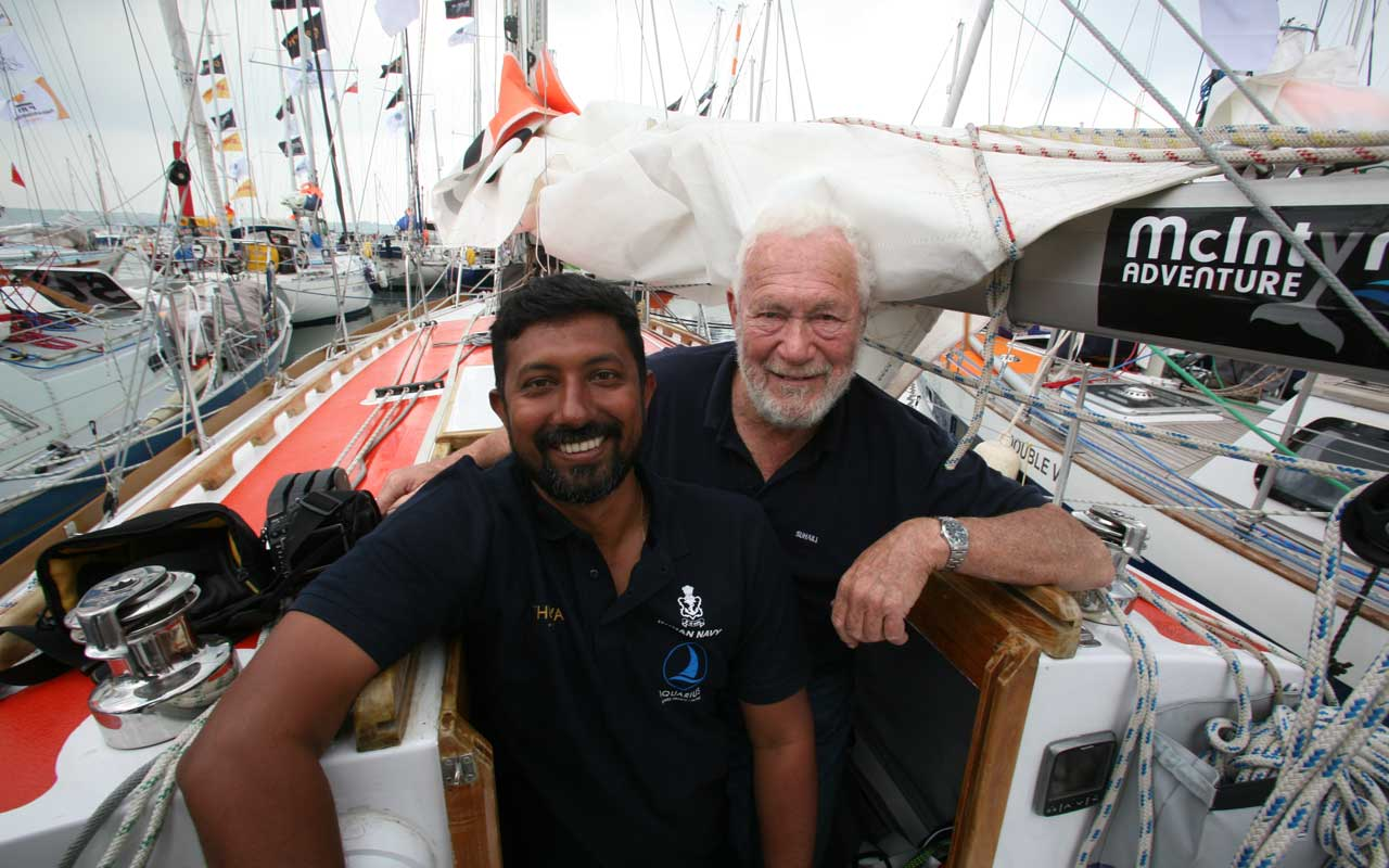 Commander Abhilash Tomy (left) on the Thuriya with Sir Robin Knox-Johnston, the first winner of the Golden Globe Race in 1968. Tomy's boat, the Thuriya, is a replica of Sir Robin's vessel, the Suhaili.