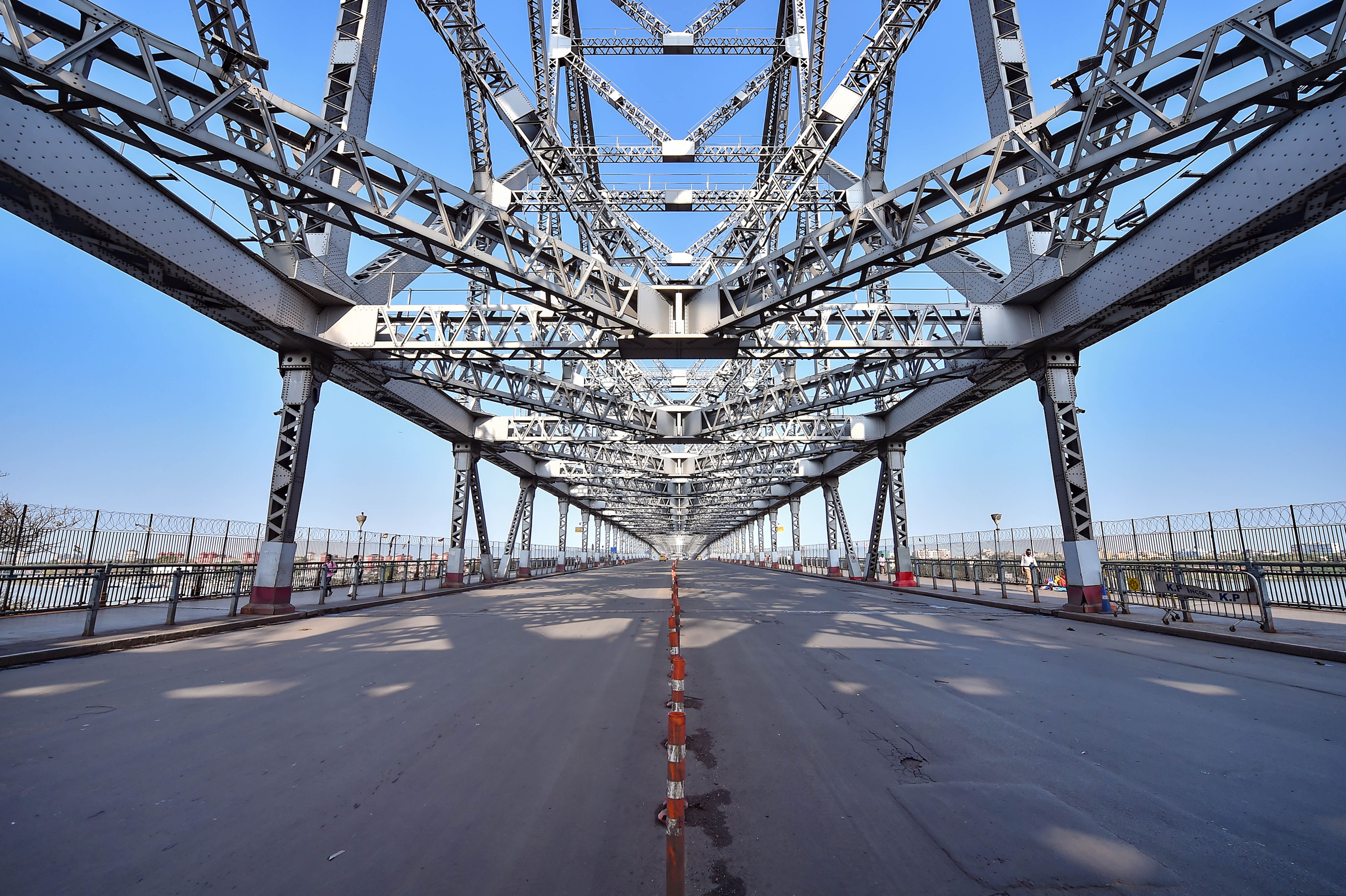 Howrah bridge wears a deserted look during the Janata curfew in Calcutta on March 22, 2020.