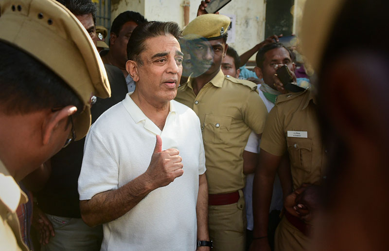 Actor-politician and Makkal Needhi Maiam founder Kamal Haasan comes out of a mortuary after paying homage to three of the victims, who died after a crane crashed on the sets of upcoming film 'Indian 2', in Chennai