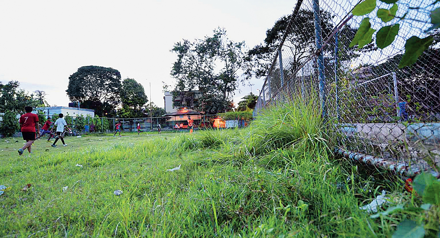 AB Block: Children play football amidst tall grass and weed at AB Park in Salt Lake's Sector I. Residents said the Bidhannagar Municipal Corporation had not cleaned the park in months