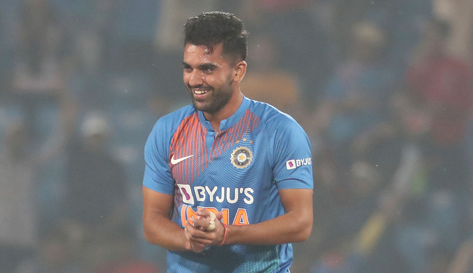 Deepak Chahar celebrates one of his six wickets  in Nagpur on Sunday.