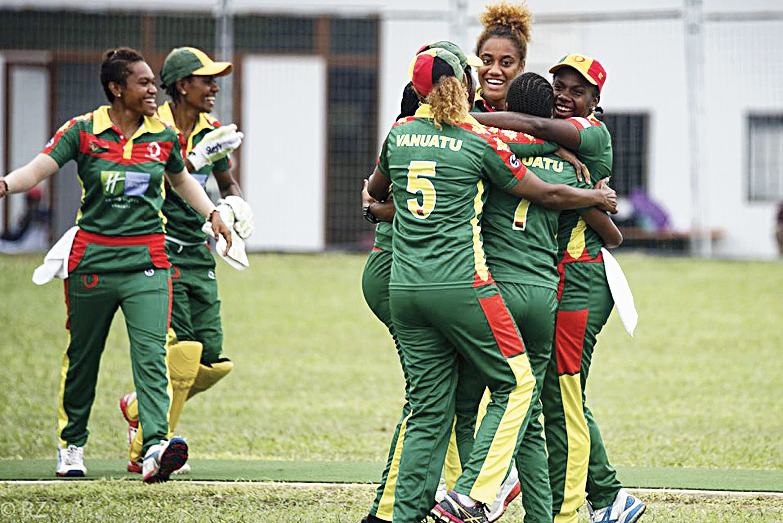 Vanuatu Cricket Association players celebrate during a women's cricket match in Port Vila, Vanuatu. The tropical island in the South Pacific is very likely to be the only venue in the world hosting a competitive cricket final on Saturday.