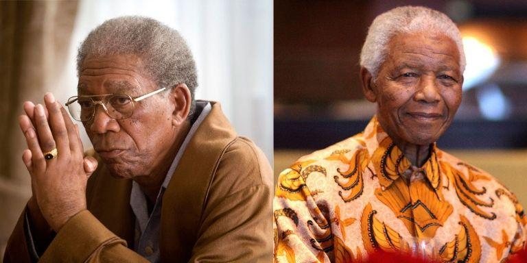 (Left to right) Morgan Freeman, and Nelson Mandela