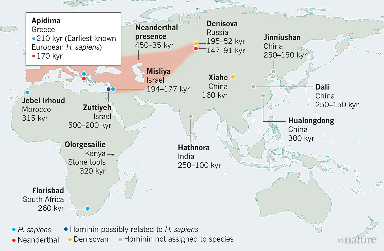 Map shows locations of key early fossils of Homo sapiens, or modern humans, and related species in Africa and Eurasia.