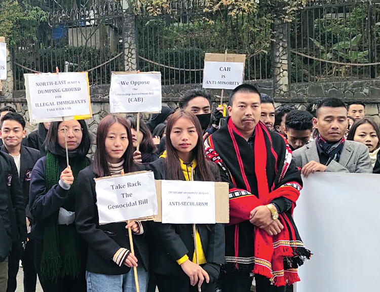 Protesters demonstrate in Kohima