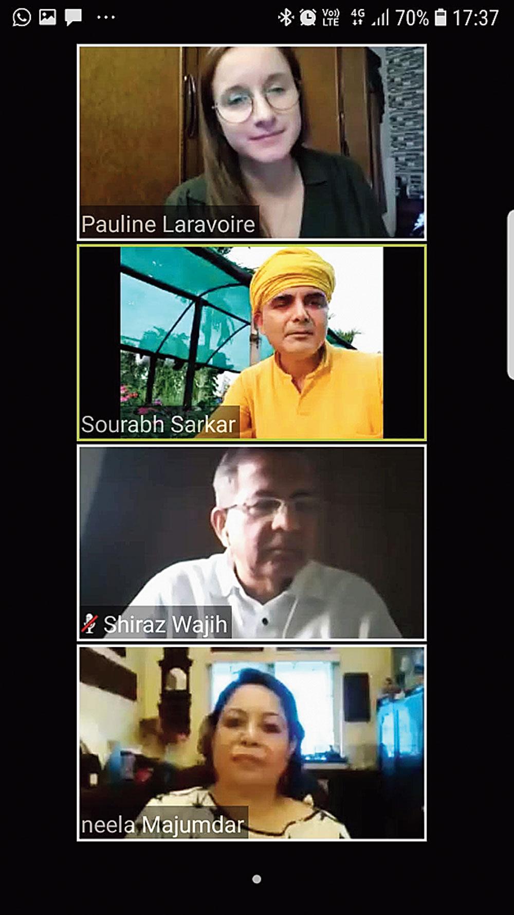 Pauline Laravoire, Sourabh J. Sarkar, Shiraz Wajih and Neela Majumder at the webinar