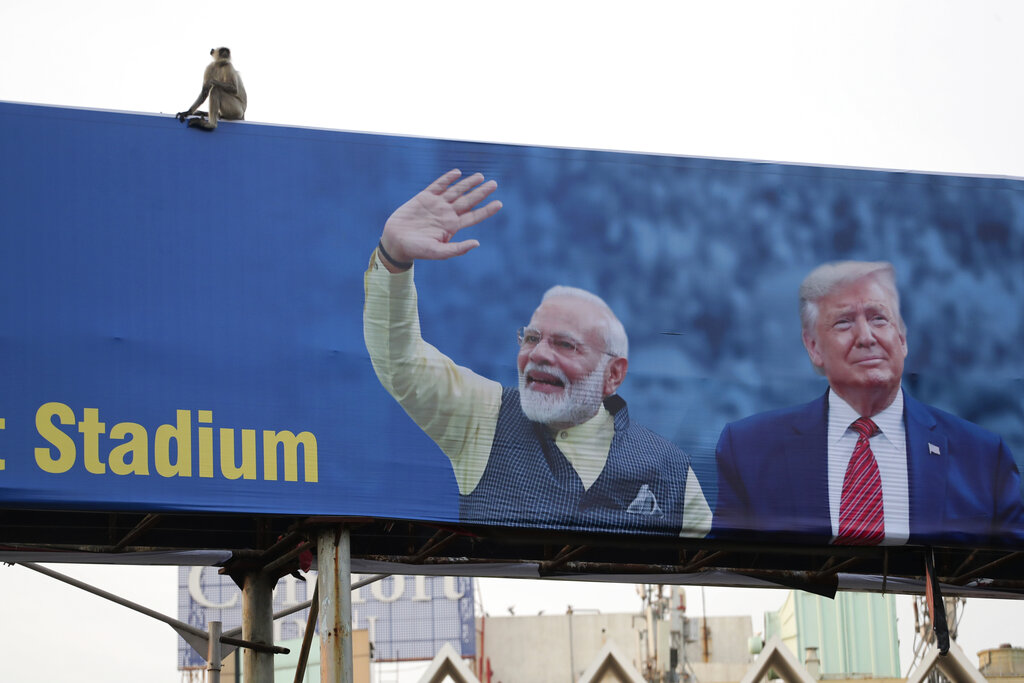 A monkey sits on a hoarding welcoming U.S. President Donald Trump ahead of his visit to Ahmedabad