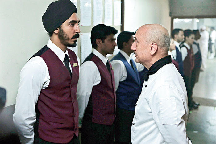 Anupam Kher with Dev Patel in Hotel Mumbai