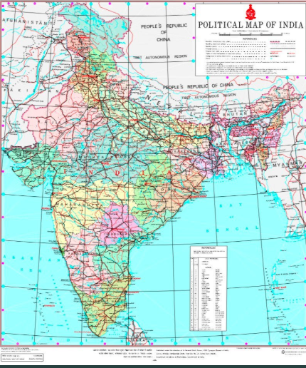 The new map relased by the Government of India.