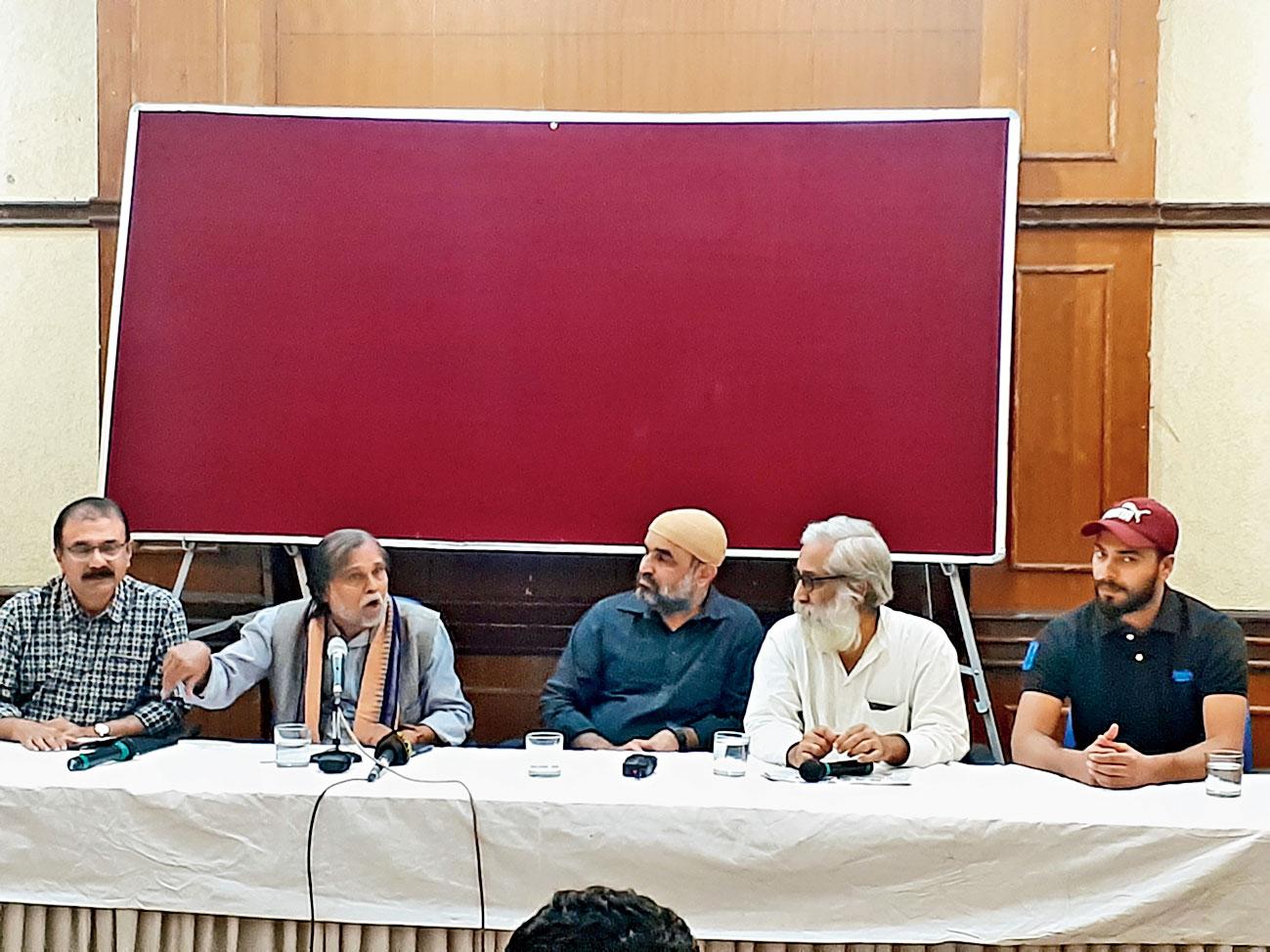(From left) Musthafa Mohamed, Prafulla Samantara, Faisal Khan, Sandeep Pandey and Mohammed Javed at the Press Club of India in New Delhi on Saturday.