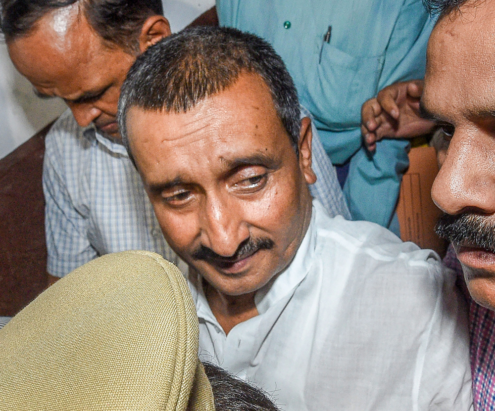 File photo of BJP MLA Kuldeep Singh Sengar in Lucknow. Kuldeep Singh Sengar was among the 10 people named in an FIR registered on Monday in connection with a road accident in which the Unnao rape survivor and her lawyer were critically injured and her two aunts killed, police said.
