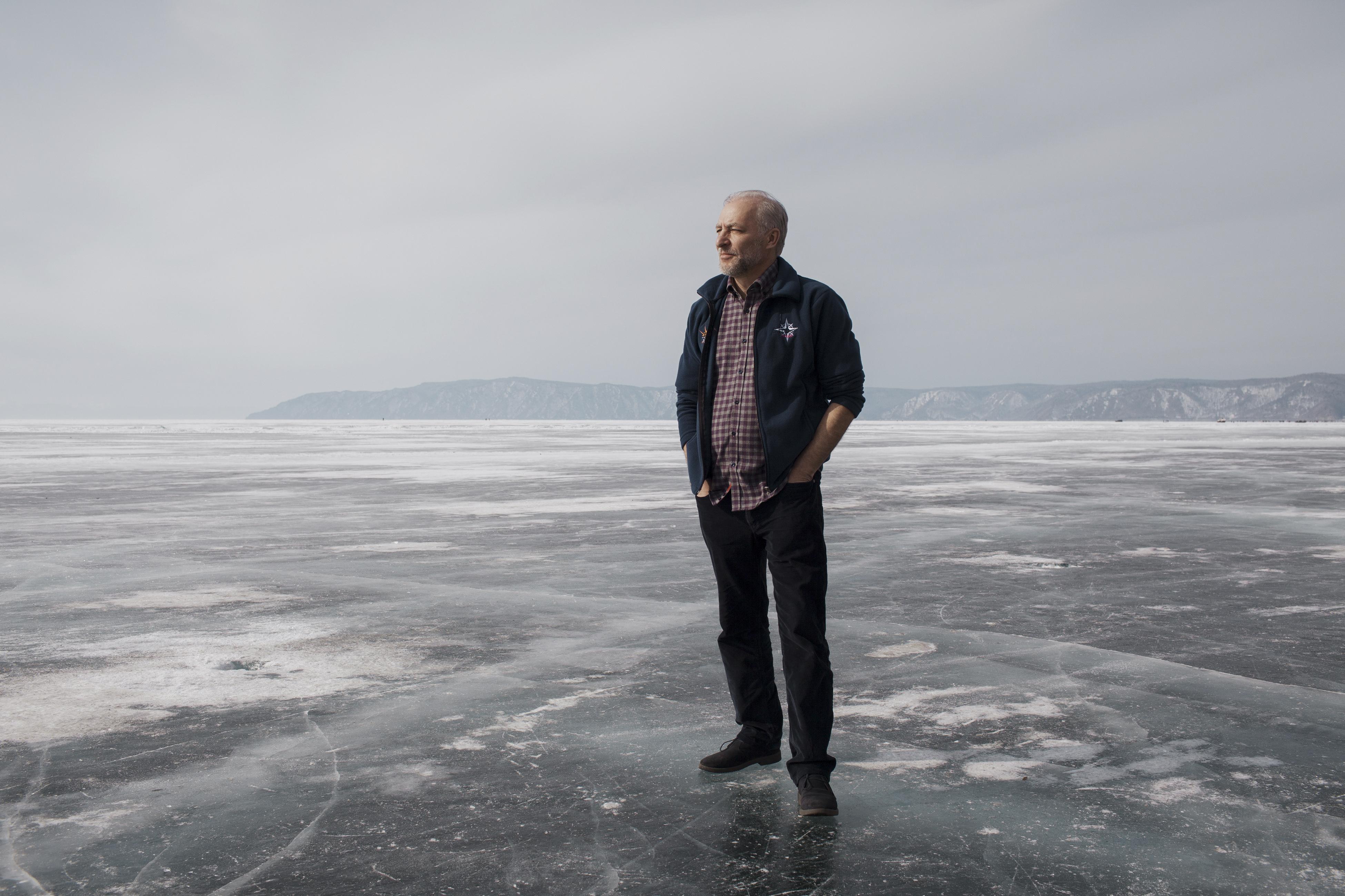 Aleksey P. Nikiforov, founder of the Baikal Ice Marathon, on Lake Baikal on March 3, 2019.