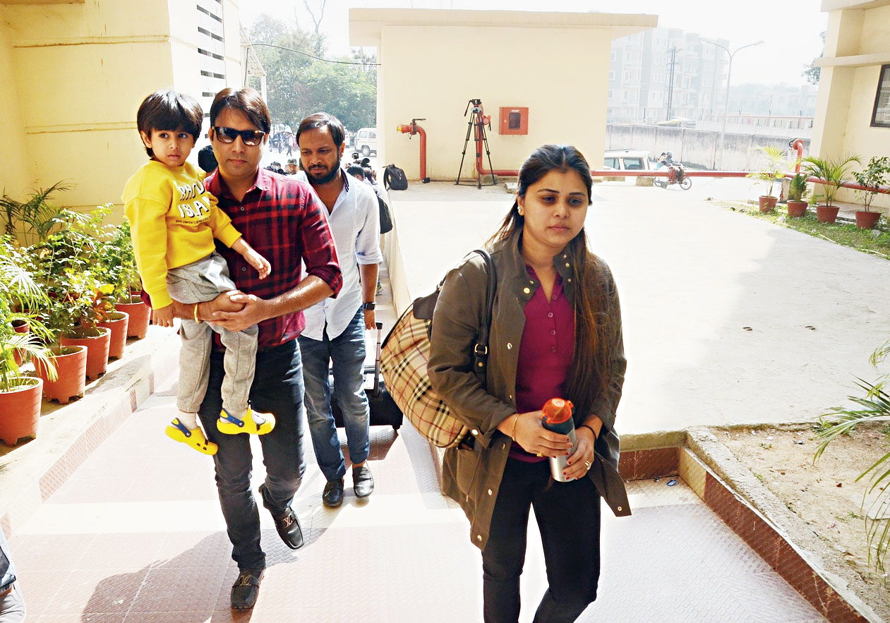 Tejashwi's sister Ragini, with her husband Rahul and son Rudransh, at the hospital.
