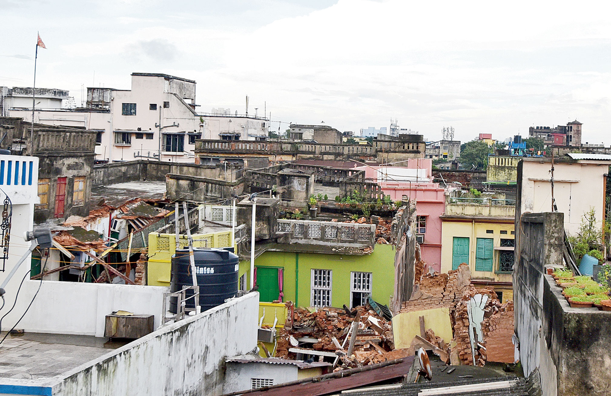 Buildings in Durga Pituri Lane, Bowbazar, that have collapsed because of the East-West Metro's tunnel-boring work.