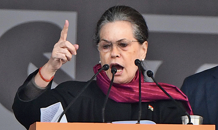 Sonia Gandhi at the rally on Saturday