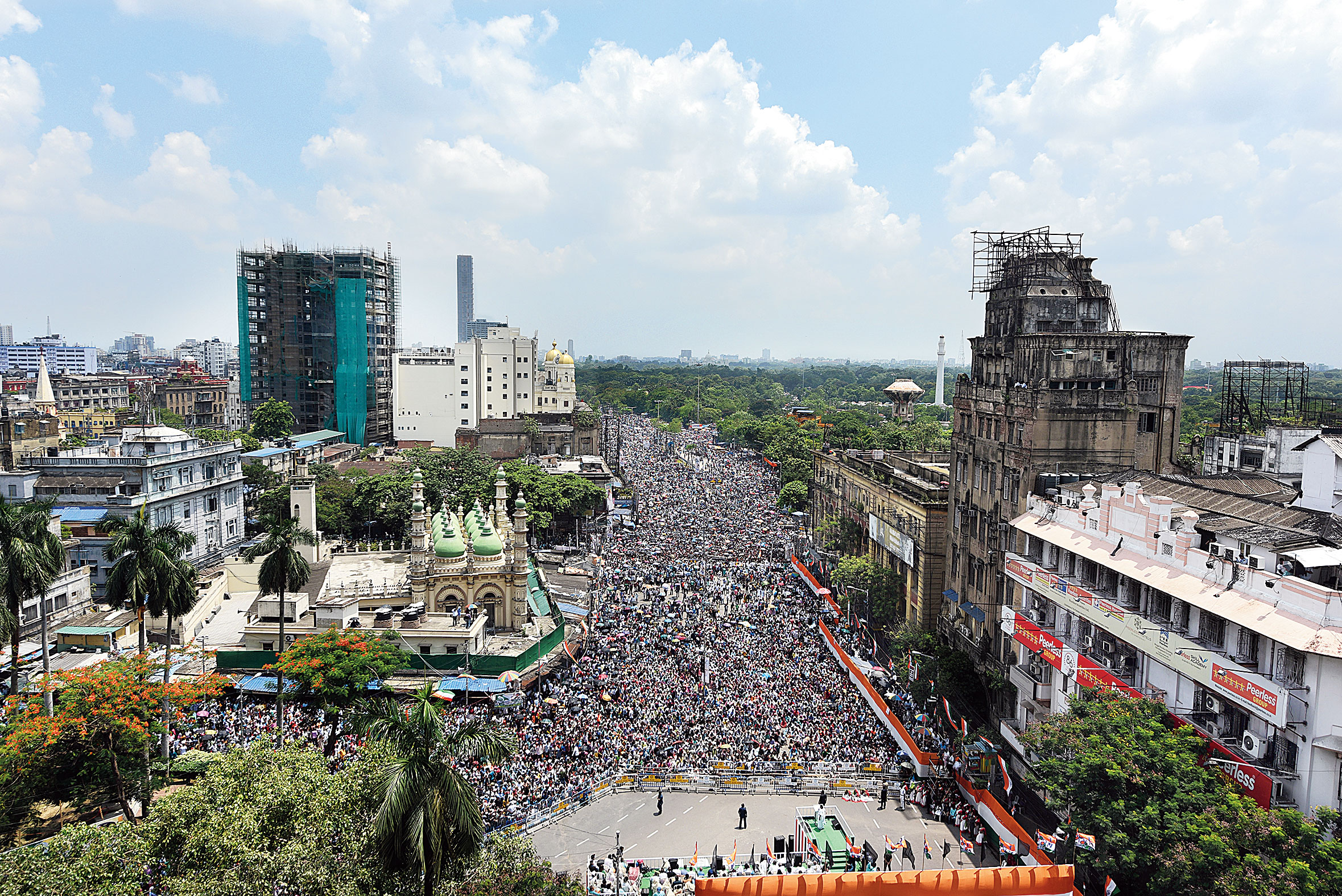 A panoramic view of the dais and the crowd at the Trinamul rally in Calcutta on Sunday.