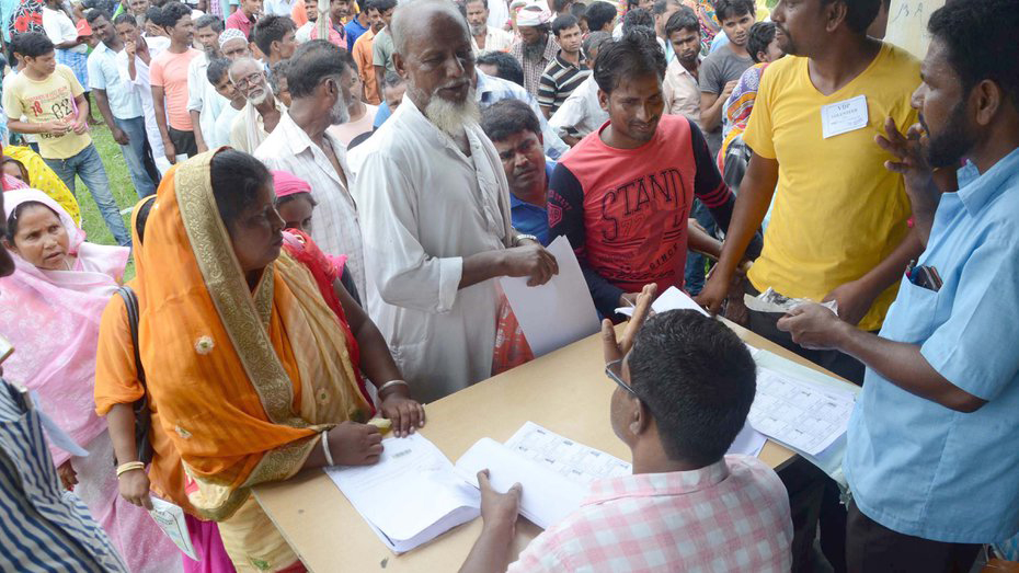 People line up to get their names checked in the draft NRC in Tezpur, Assam. The spectacle of the NRC updating in the state has been bewildering enough, and the sudden uncertainty facing over 19 lakh people after the final list is terrifying.