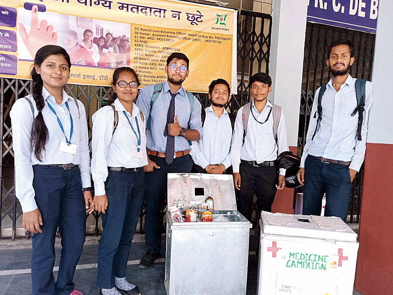 Students of St Xavier's College in Ranchi with their medicine boxes.