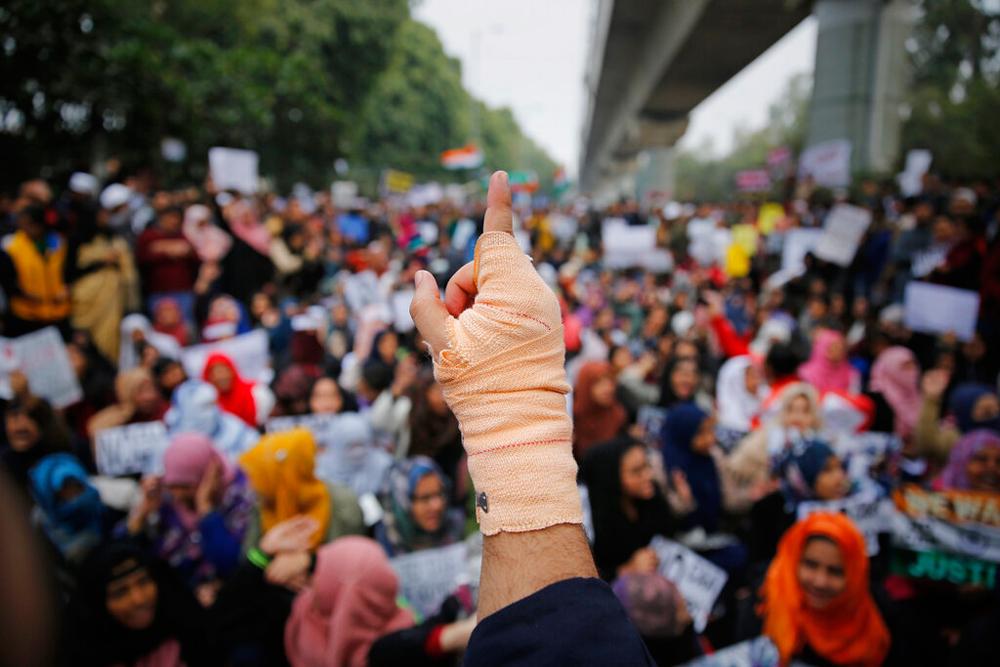 Students of Jamia Millia Islamia at a demonstration in New Delhi on Saturday