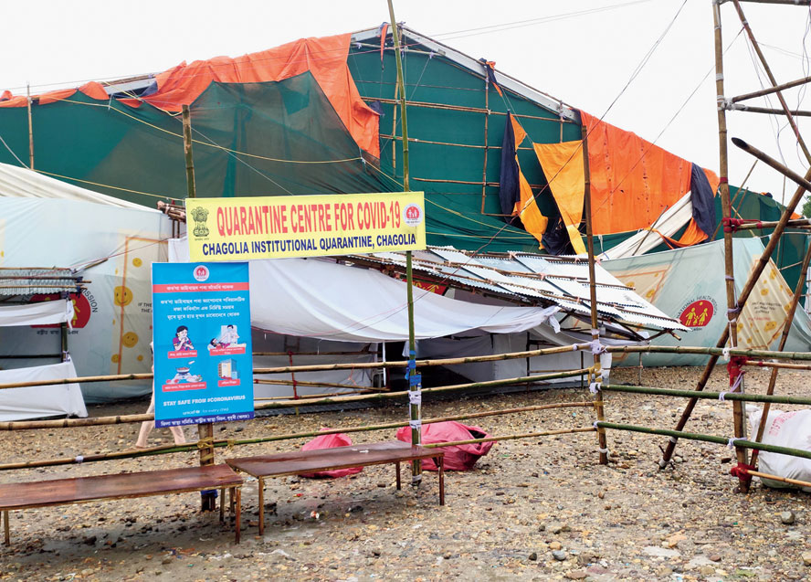 The damaged screening-cum-quarantine centre at Chagolia in Assam's Dhubri district on Tuesday.