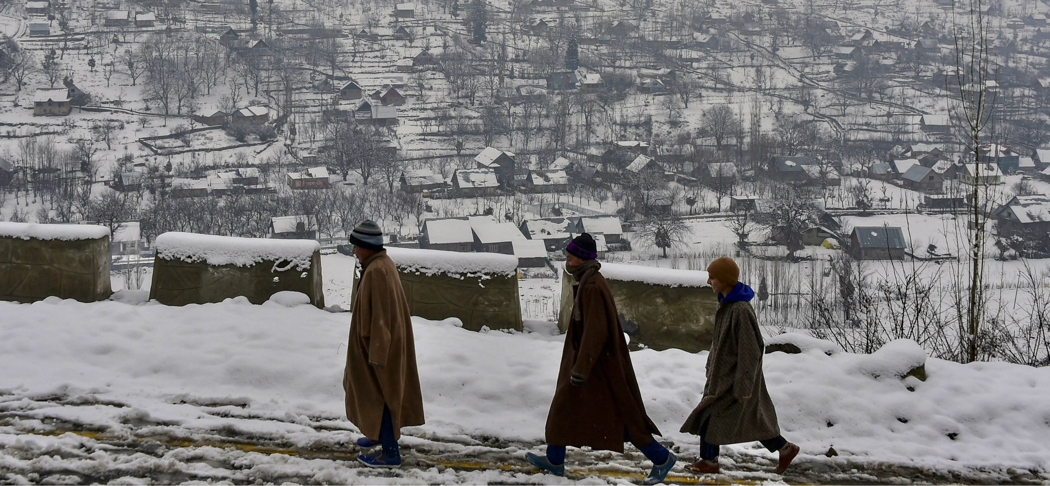 On Wednesday, Kashmir received its first snowfall of the New Year, breaking a month-long dry spell.