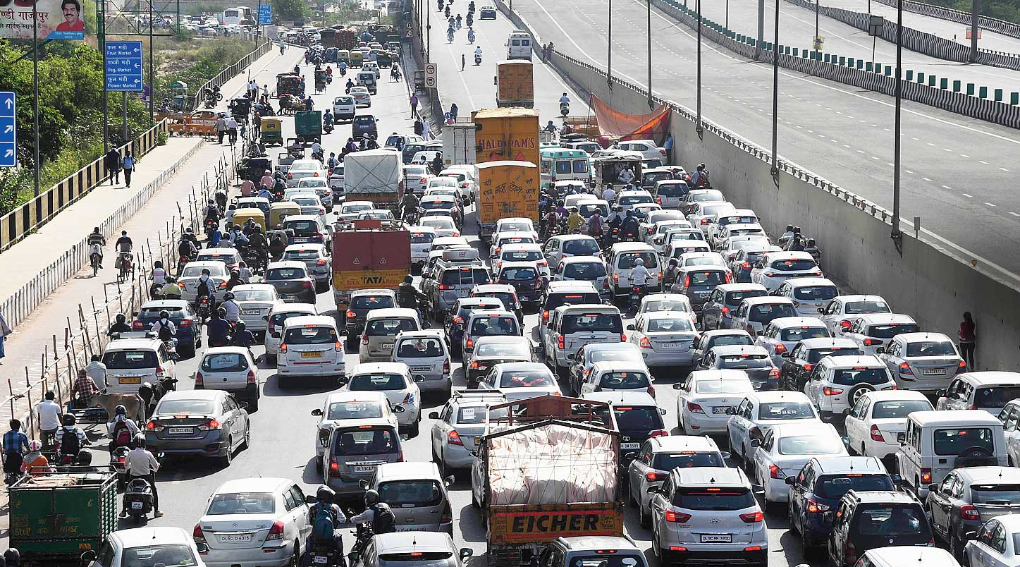 Traffic jam at the Delhi-Ghaziabad border on Tuesday, a day after the authorities sealed it amid rising cases of the coronavirus.