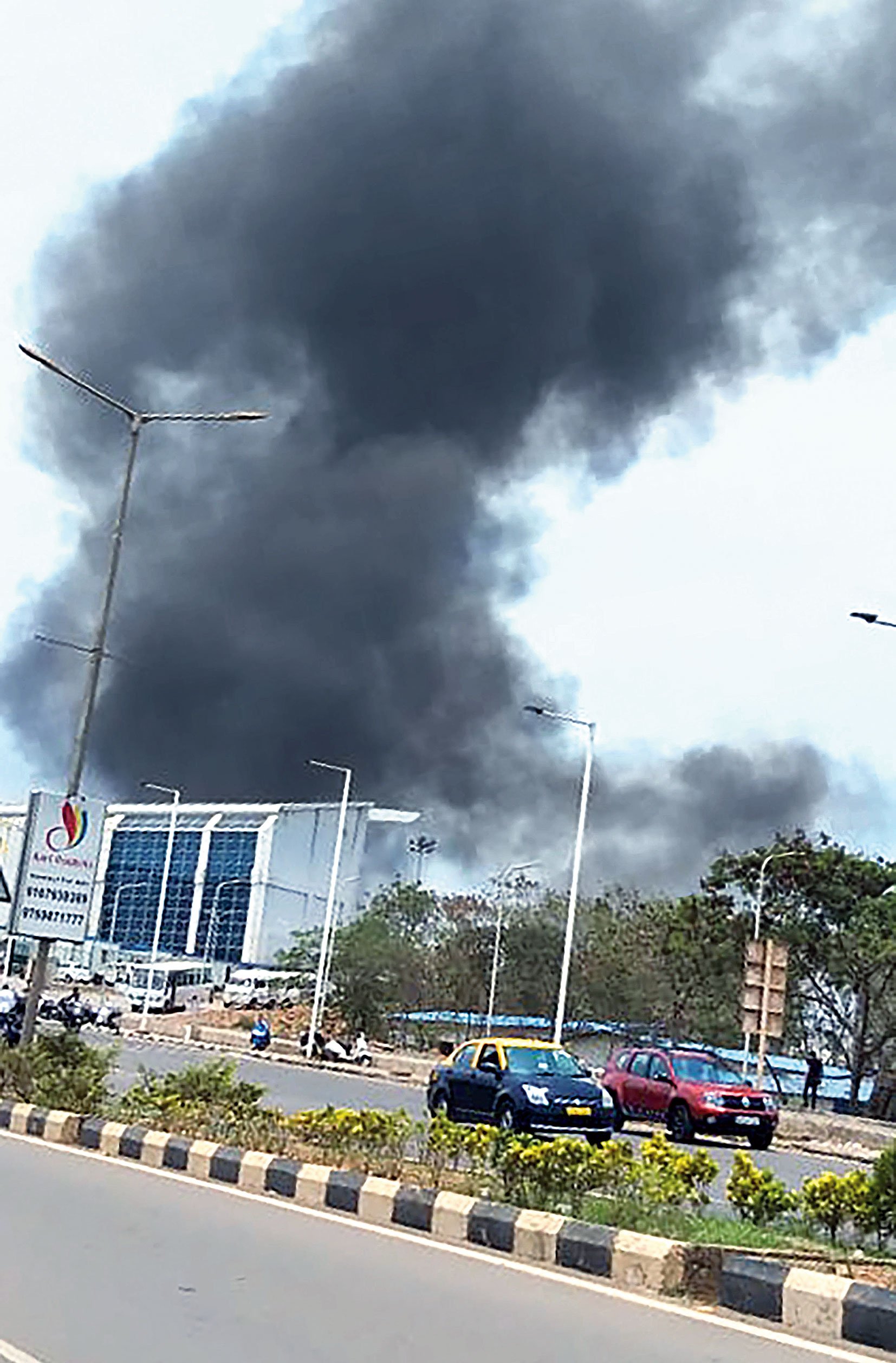Smoke rises after the fire at Goa airport in Dabolim on Saturday.