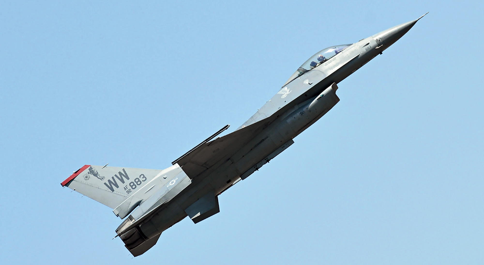 An F-16 fighter aircraft rehearses at the Yelahanka Air Base in Bangalore on February 17.