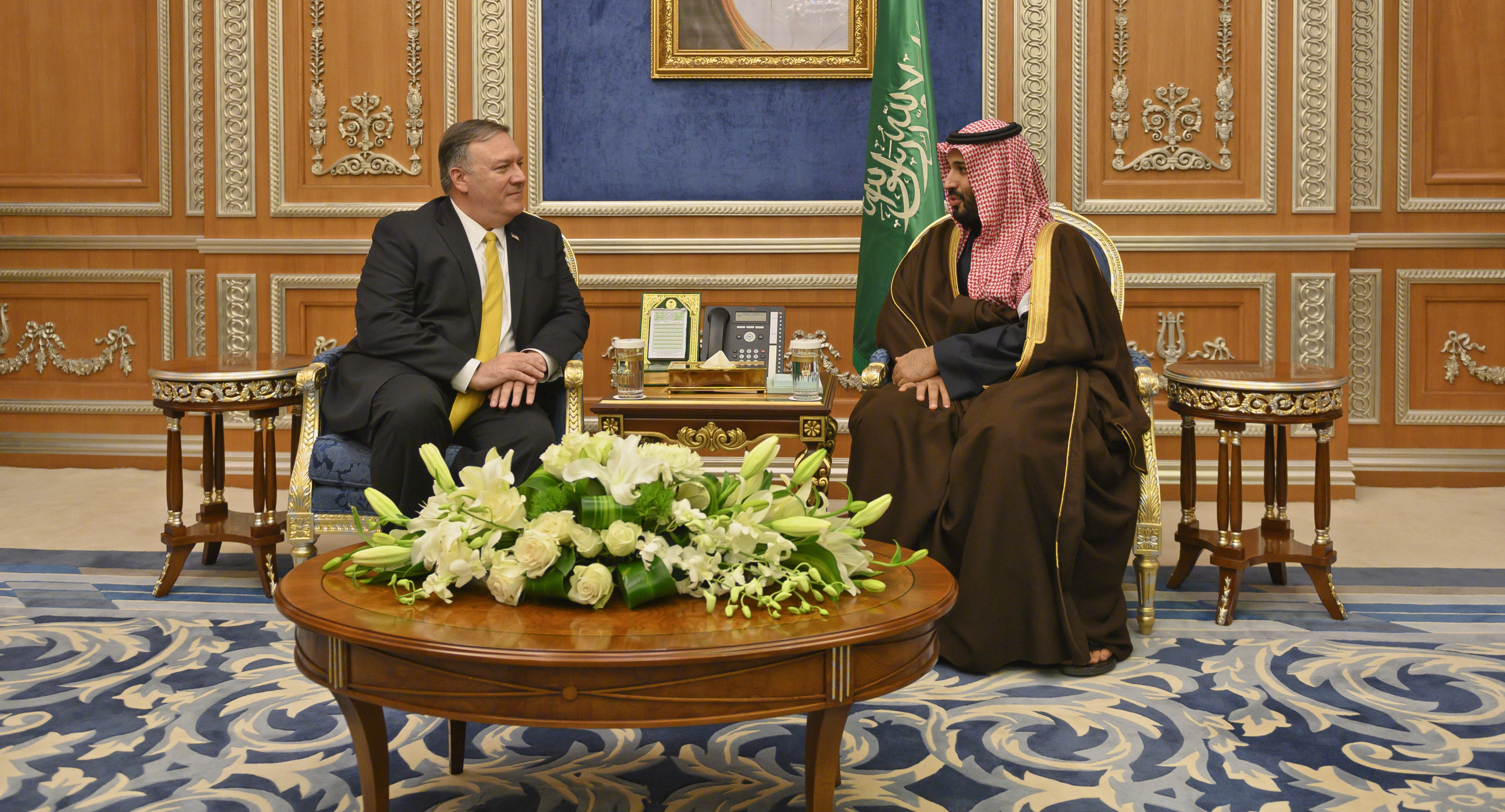 Saudi Crown Prince Mohammed bin Salman with US Secretary of State Mike Pompeo at the royal court in Riyadh on Monday, January 14, 2019.