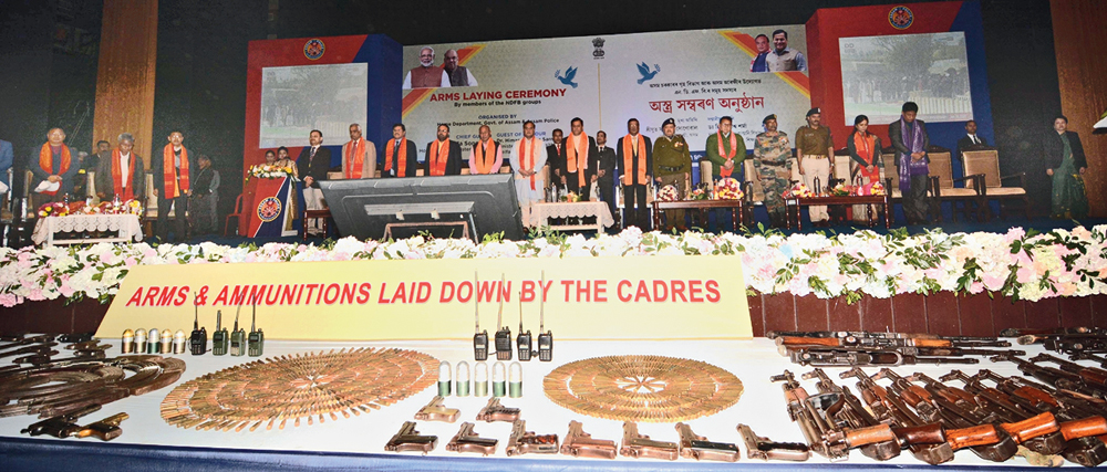 Arms and ammunition laid down by National Democratic Front of Boroland cadres in Guwahati