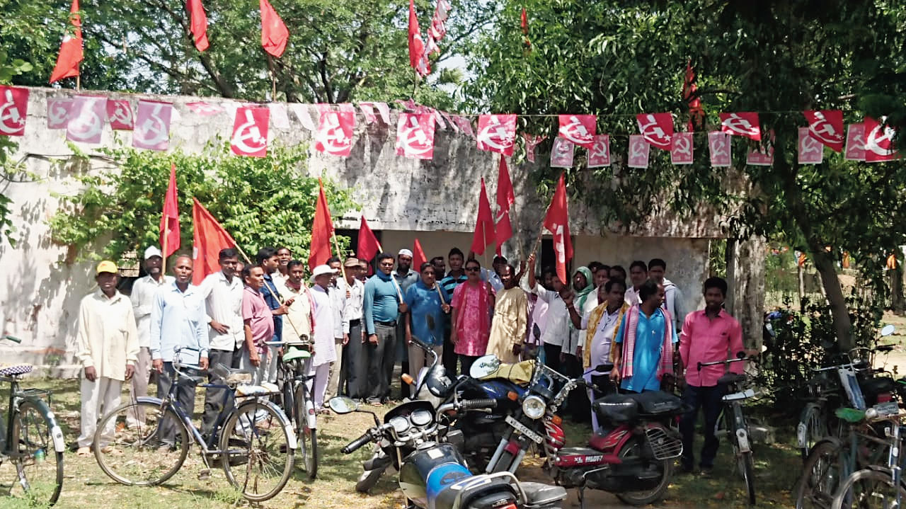 CPM workers after reopening the local committee office at Udaipur on Sunday
