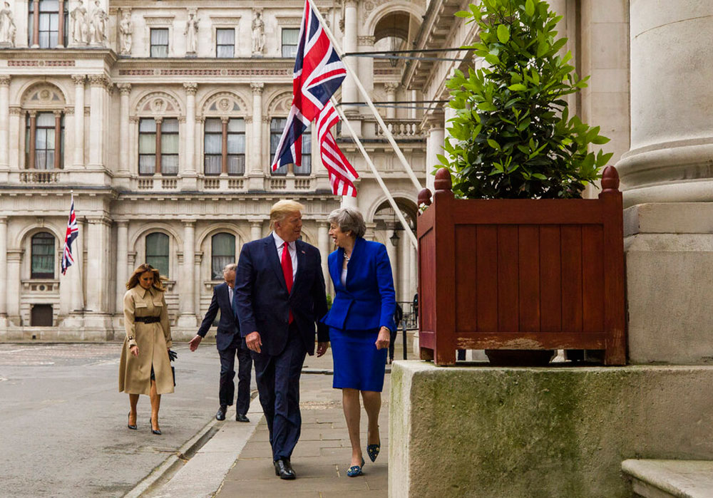 US President Donald Trump with British Prime Minister Theresa May