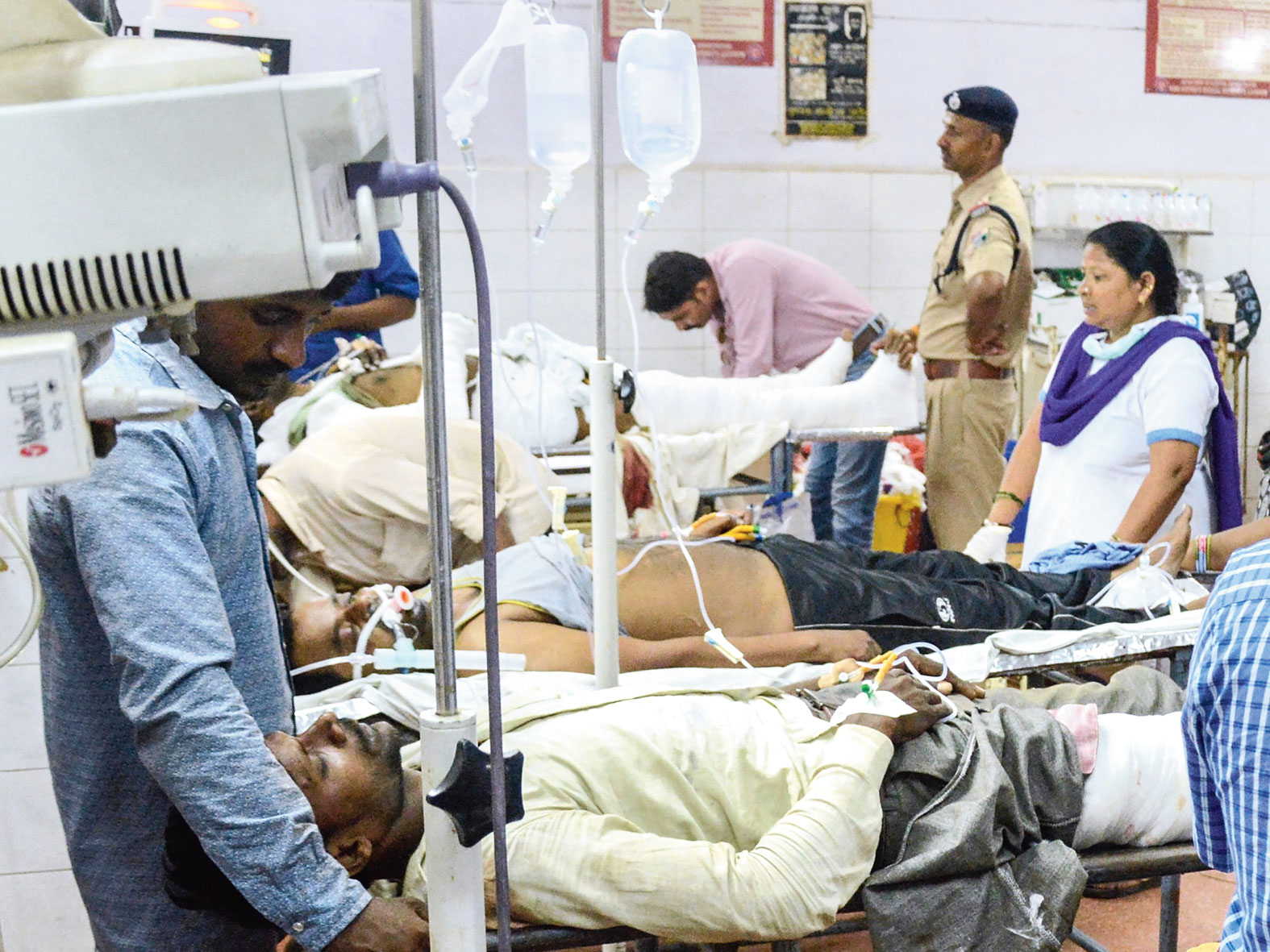 Passengers being treated at a Lucknow hospital.