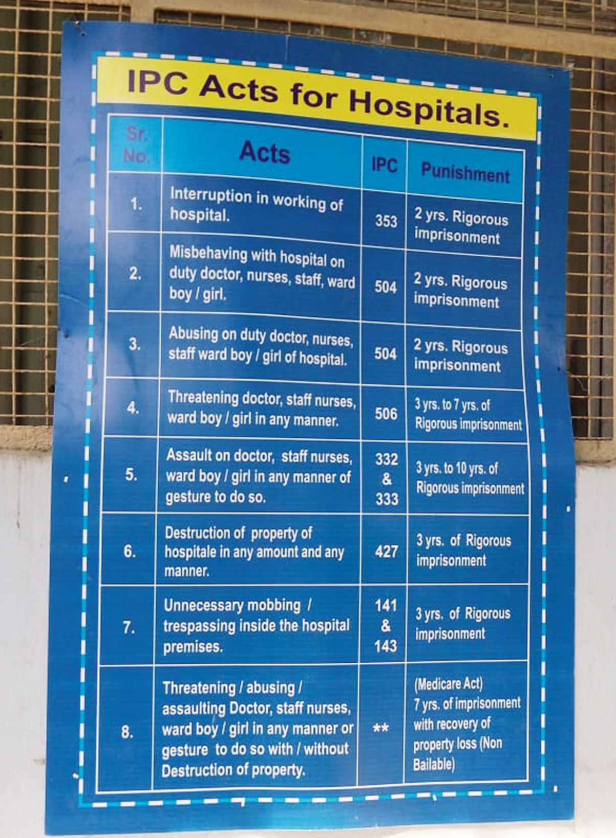 A board at the Infectious Diseases Hospital in Beleghata. It spells out sections of the Indian Penal Code (IPC) that may be applied in case of violence at a government hospital