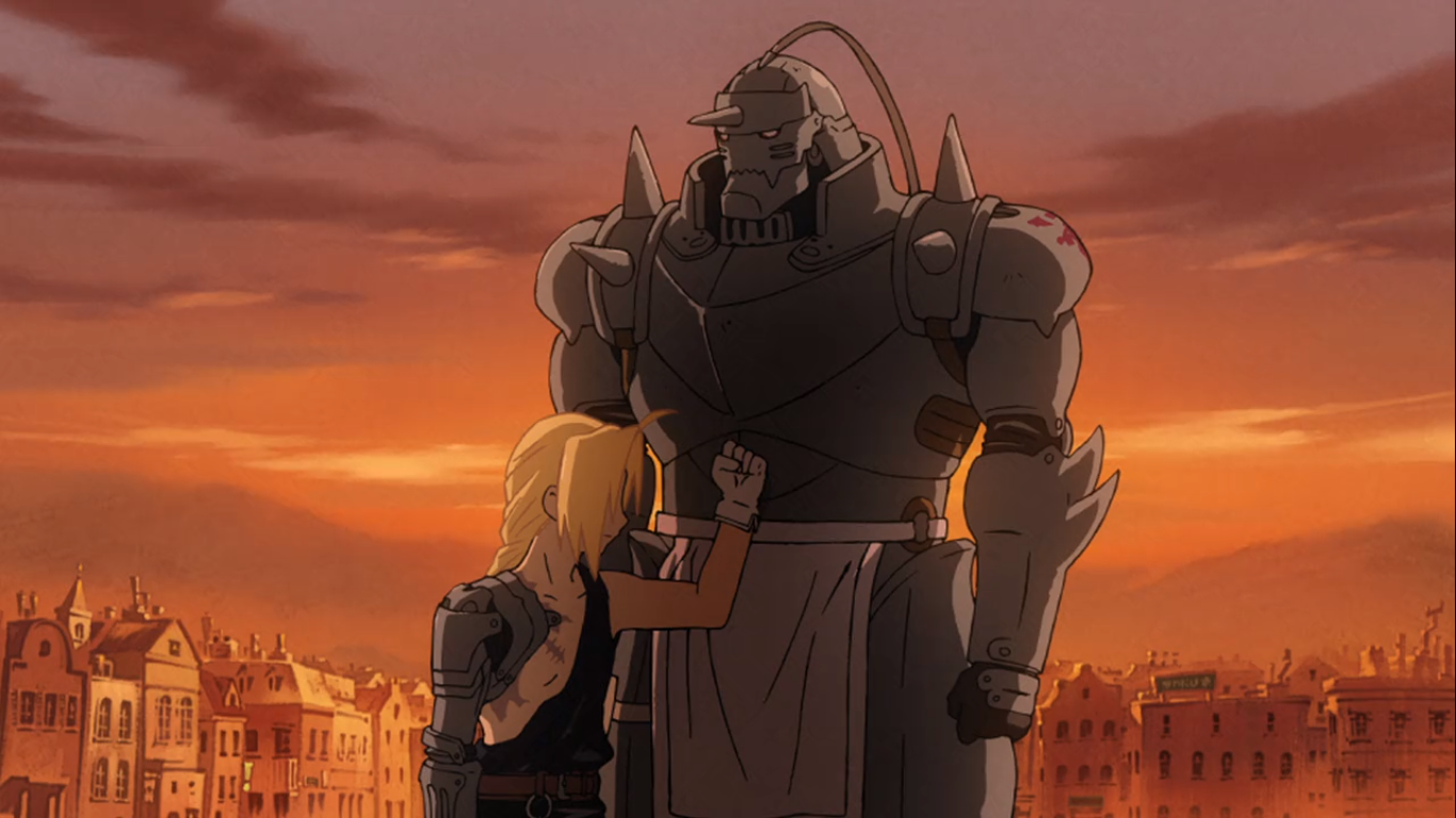 Edward and Alphonse Elric on the hunt for the Philosopher's stone that can bring back their bodies