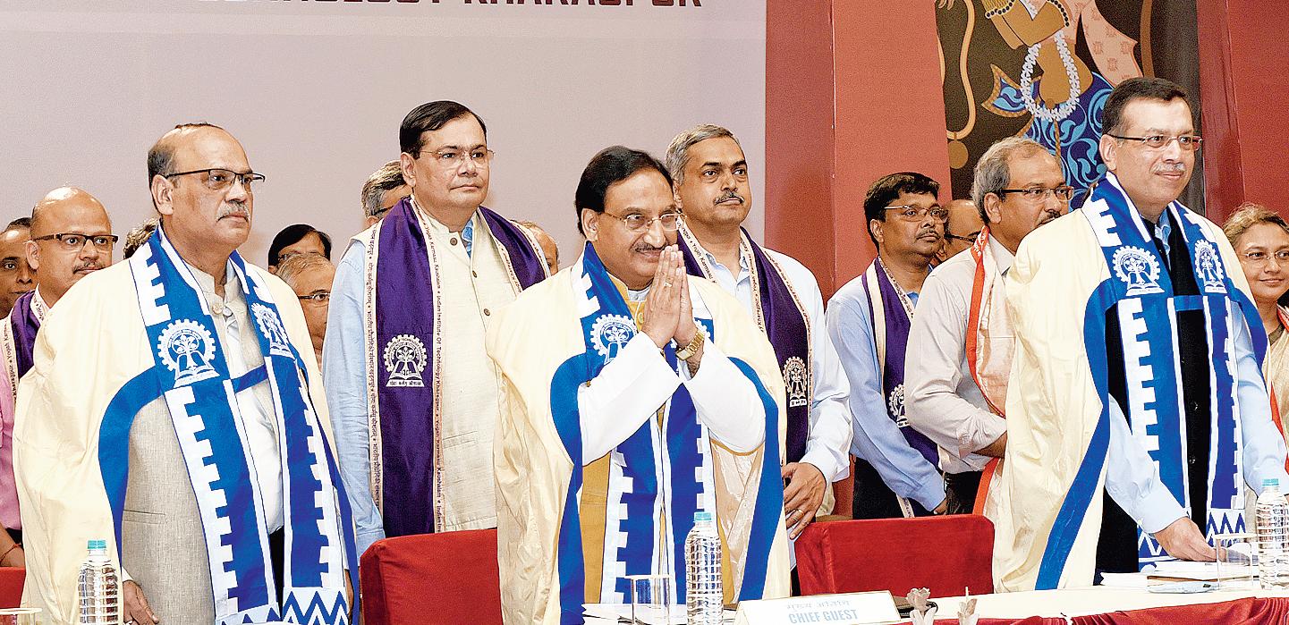 (From left) Sriman Kumar Bhattacharyya, director officiating of the Indian Institute of Technology, Kharagpur; human resource development minister Ramesh Pokhriyal Nishank; and Sanjiv Goenka, chairman of the board of governors of the institute, at the convocation on Tuesday.