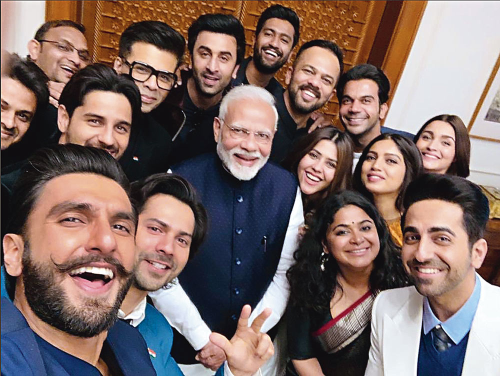"""SELFIE FIRST: A January 10 picture shows Prime Minister Narendra Modi with some of the leading figures of Bollywood. The picture was then described as the """"selfie of the year"""". The group had met Modi to discuss the participation of youth icons from the  film fraternity in nation-building."""