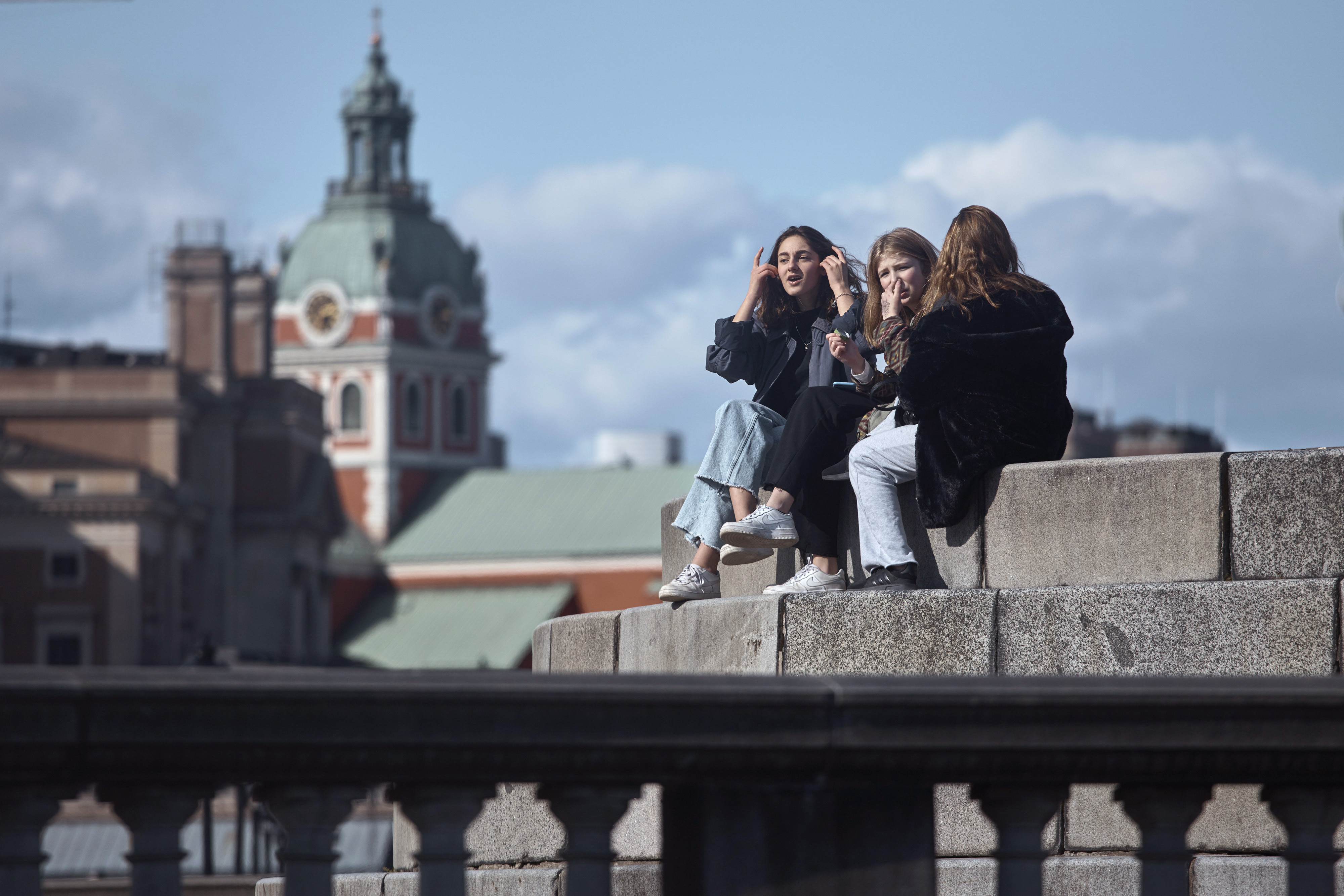 Young people socialise together in Stockholm