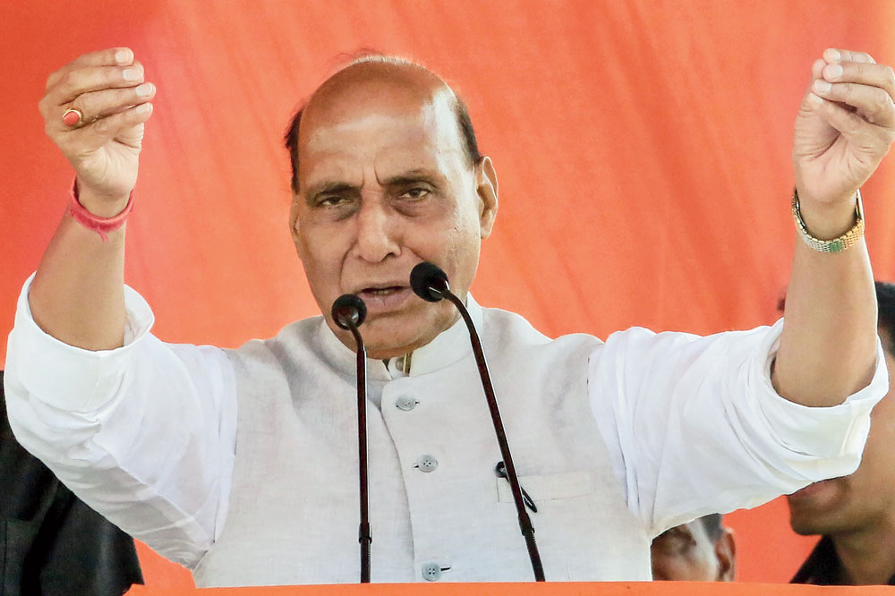 Union home minister Rajnath Singh at a rally in Chatra on Tuesday.