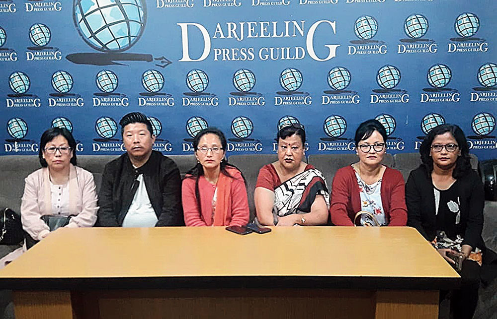 Prativa (third from left) at the press meet on Wednesday