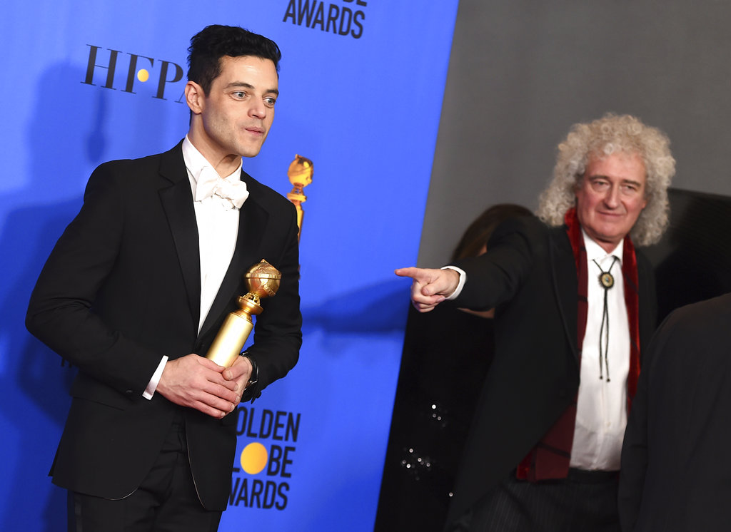 Rami Malek with his Golden Globe and Brian May of Queen. In his acceptance speech, Malek thanked Queen lead singer Freddy Mercury.