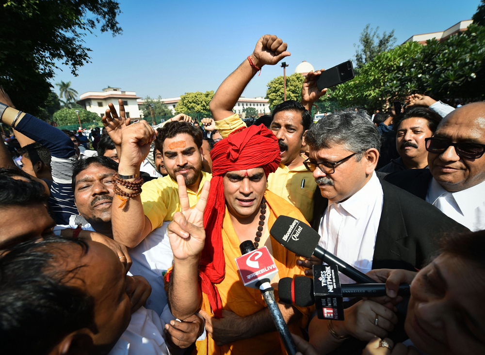 Swami Chakrapani outside the Supreme Court in New Delhi on Saturday, November 9