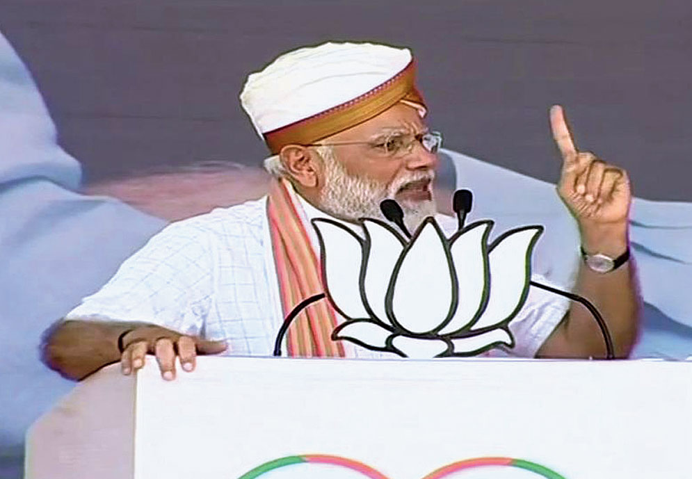 Narendra Modi at an election rally in April 2019 where he mentioned the Balakot strike