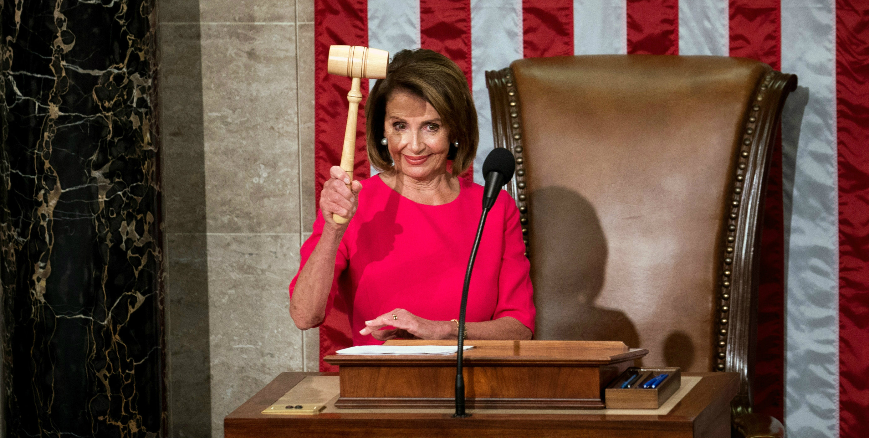 Nancy Pelosi wields the gavel after her election as speaker on Thursday.
