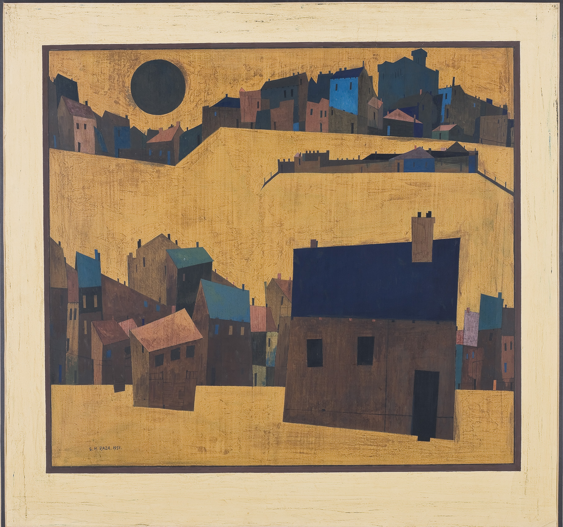 S. H. Raza, Haut de Cagnes, 1951, Gouache on paper.  Painted in 1951 soon after Raza's arrival in Paris, Haut de Cagnes is a product of the artist's encounter with Europe.  Two rows of stylized houses cut across the canvas. Except for glimpses of a castle tower, medieval ramparts, the forms are reduced to essential geometric forms. There are no visible signs of human presence. A large black sun hangs over the top left corner of the painting. This would later became the defining bindu motif in Raza's landscapes. BHT