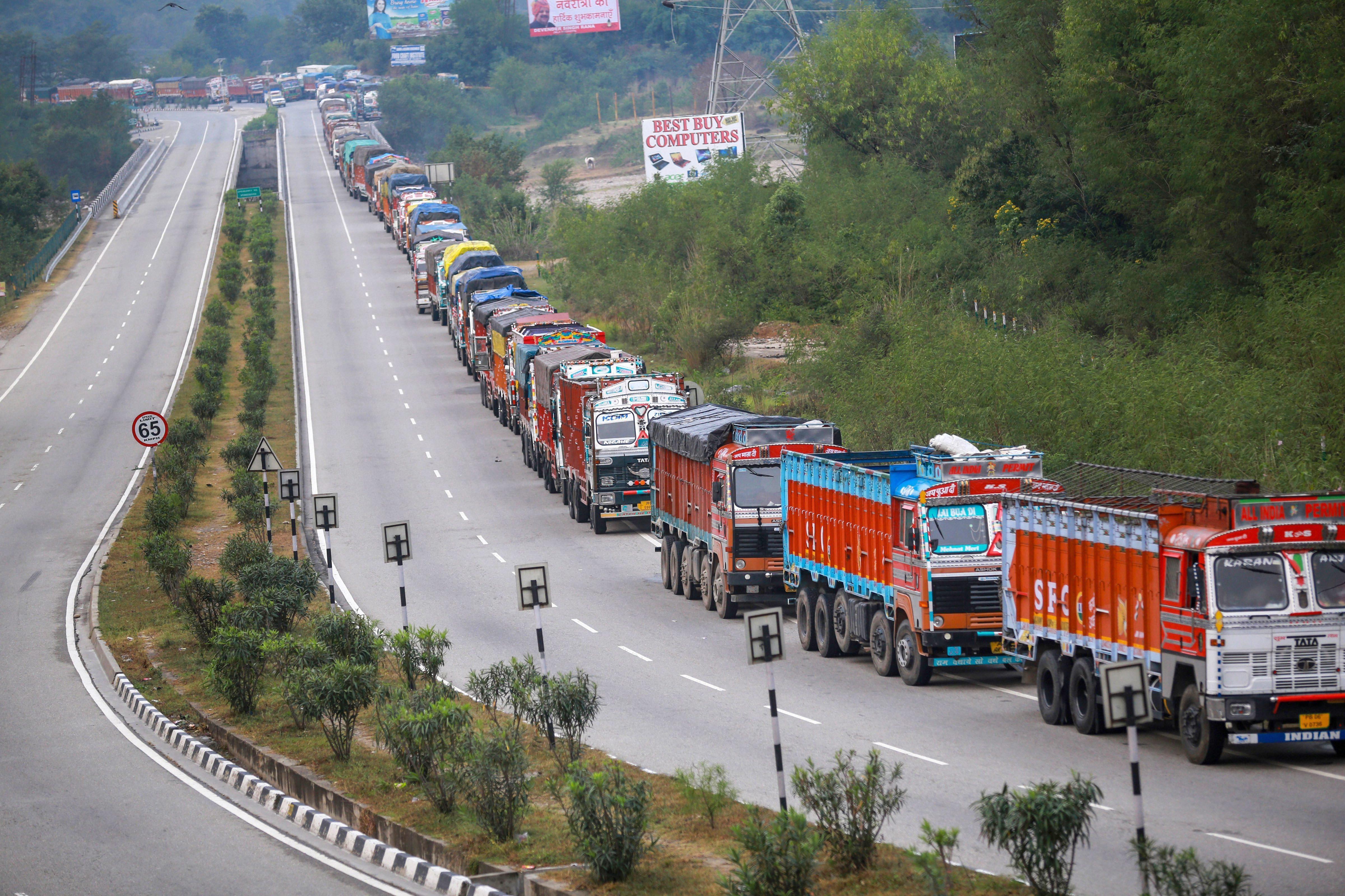 Trucks wait on the Jammu-Srinagar national highway.