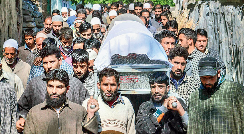 Mir's funeral procession in Anantnag on Sunday.