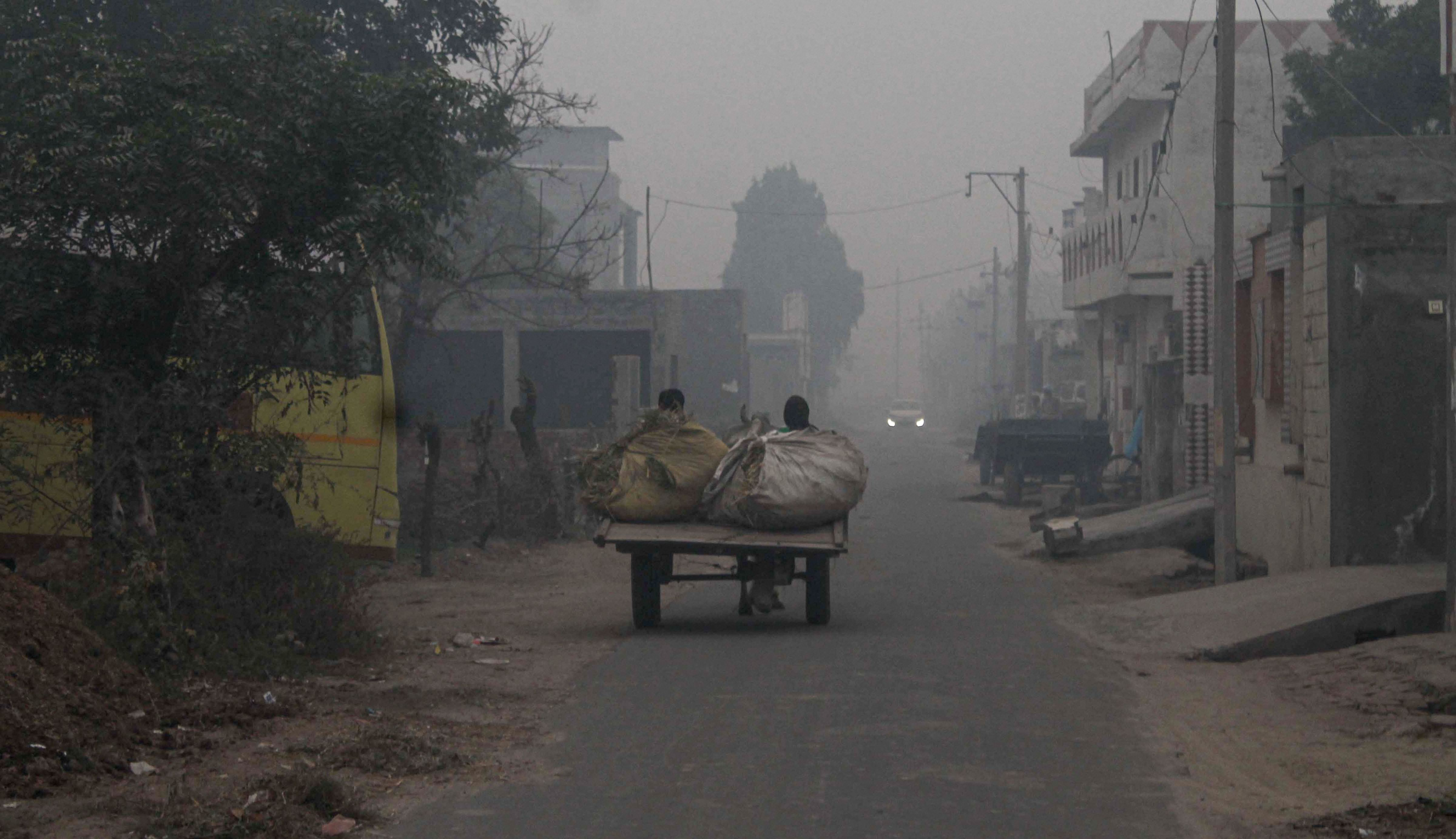 A view of the Dhuri area shrouded in smog in Sangrur district, Saturday, November 2, 2019