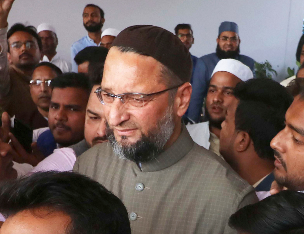 All India Muslim Personal Law Board senior member MP Asaduddin Owaisi after the meeting of boards working committee on the Supreme Court verdict on Ayodhya dispute, in Lucknow, Sunday, November 17, 2019.