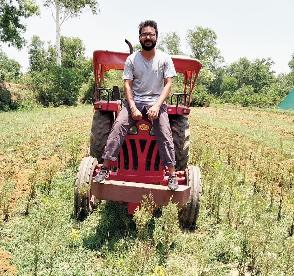 Rakesh Mahanty at his farm in Patamda, Jamshedpur.